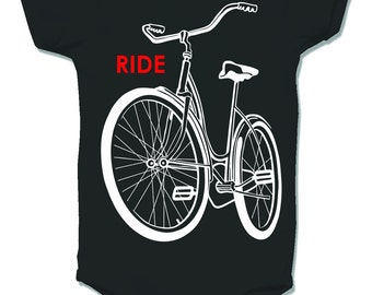 Ride a Bike One Piece, Black Cream infant bodysuit, baby and toddler sizes, short sleeve, old school schwinn