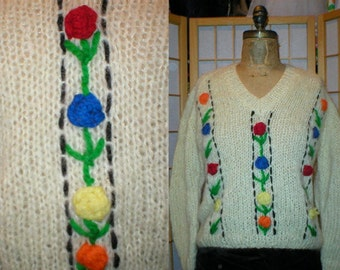 Vtg 80s floral mohair sweater womens size large
