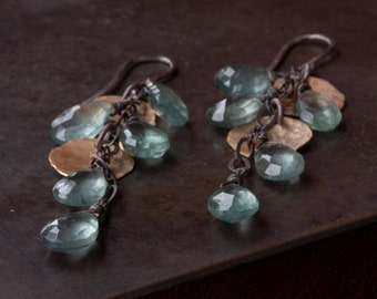 Moss Aquamarine Cascade Petal Earrings