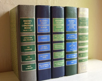 Set of 5 Thick Vintage Books for Home Decor in Greens Blues Grey