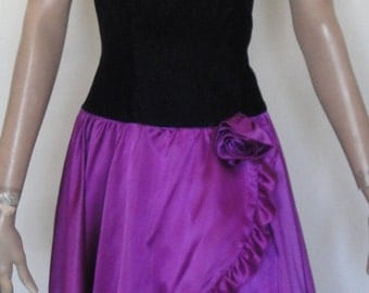 Lovely Vintage 80's Black Velvet Purple Taffeta Party Dress Jolie Madame B34