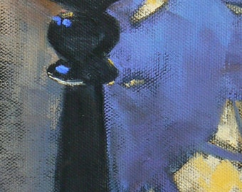 """Candle Painting, Candle Still Life , Small Oil Still Life, 4x12x1.5"""", Candlestick with Palm Shadows"""