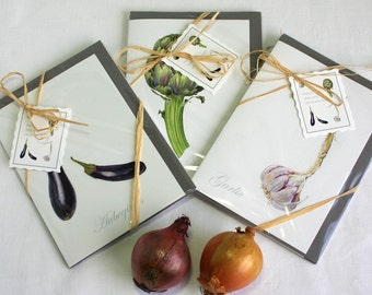 Vegetable cards-aubergine print-artichoke illustration-garlic watercolour-stationary gift-gift for gardener-botanical note cards-card pack