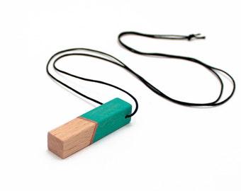 Geometric wooden necklace - emerald green, bronze, natural wood - minimalist, modern jewelry