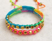 Rainbow friendship bracelet SET neon bracelets macrame gold beads stack bracelet beaded