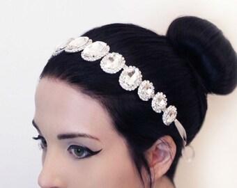 Rhinestone Wedding Headband, Rhinestone Bridal Headband  Wedding Crystal Headpiece, Large Rhinestone Head Piece, Bridal Head Jewelry