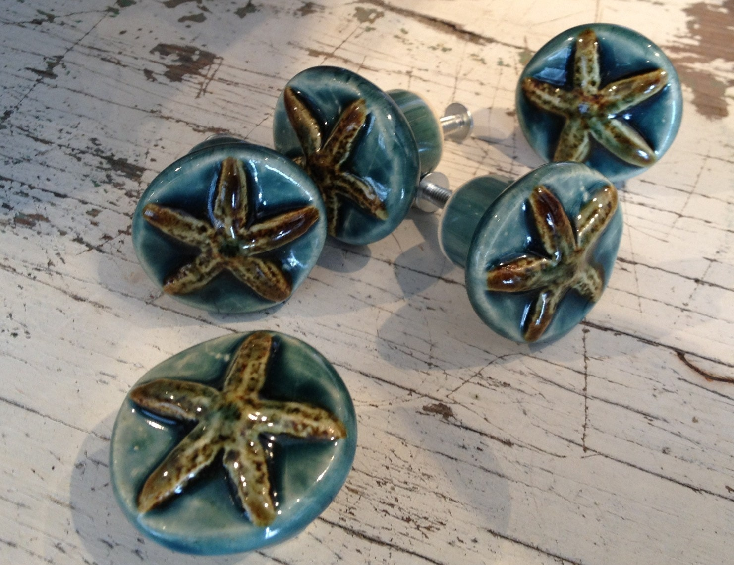 coastal cabinet pulls starfish drawer pull and cabinet knob coastal decor 2267