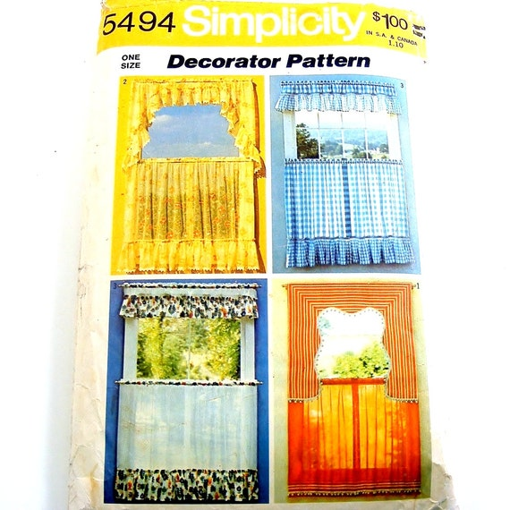 Items Similar To 70s Vintage Kitchen Curtains Pattern Cafe Curtains Valance Sewing Simplicity