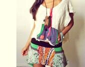 Funky Lace Patch Boho Knit Skirt