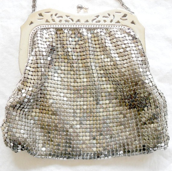 Antique Mesh Purse Vintage Whiting and Davis Silver Mesh Purse Bag