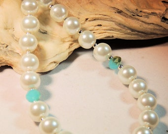 White Pearl and Turquoise AB Polished Crystal Necklace, Pearl and Crystal Strand, Turquoise and White, Classic Style, Handcrafted, Bridal
