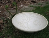 Handmade Pottery White Fern Bowl