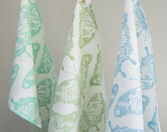 Butterfly hand block printed in robins egg blue, celery green or sky blue on white linen tea towel kitchen decor set of three 16 x 27