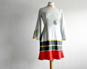 Light Gray Boho Chic Dress Peacock Print Peasant Style Upcycled Clothing Bell Sleeves Retro Clothes Jersey Knit Small 'GIGI'