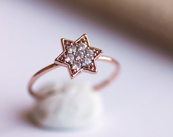 Delicate Star Ring- Rose Gold Star Ring, Everyday jewelry, CZ Ring,Zircon Star Ring,Stacking Ring,by Maki Y Design,by Maki Y