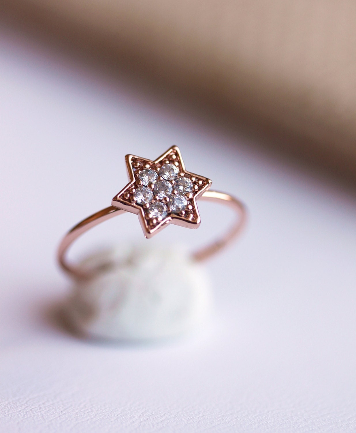 Delicate Star Ring Rose Gold Star Ring Everyday Jewelry Cz