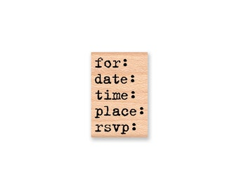 for date time place rsvp stamp-Invitation stamp-type font- wood mounted rubber stamp(18-34)