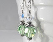 Mint Green Crystal Earrings, Bridesmaid Earrings, Wedding Jewelry Sets, Beaded Earrings, Swarovski Crystallized Elements Crystals in Silver