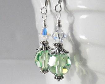 Mint Green Crystal Earrings, Bridesmaid Earrings, Wedding Jewelry Sets, Beaded Earrings, Swarovski Crystallized Elements Crystals in Silver