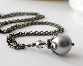 Gray Pearl Pendant Necklace Gray Jewelry Pearl and Crystal Pendant Vintage Style Antiqued Bronze Gray Bridesmaid Jewelry Handmade