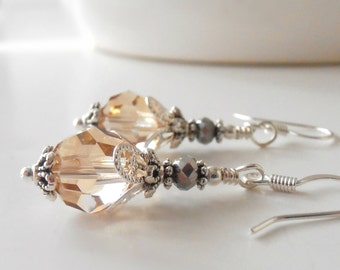 Champagne Bridal Jewelry, Swarovski Crystal Bridesmaid Earrings, Beaded Wedding Jewelry Sets, Dangle Earrings, Plated or Sterling Silver