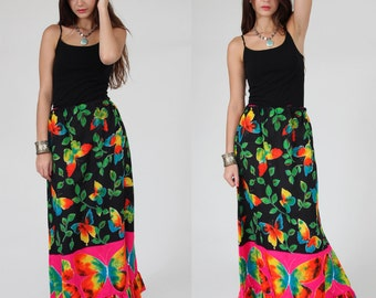 SALE Vintage 70s Maxi Skirt  BUTTERFLY Print Hippie Skirt Neon Novelty Print PSYCHEDELIC Skirt