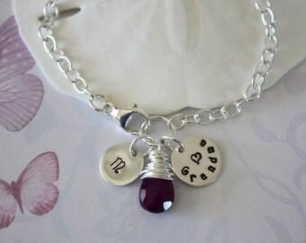 Grandma Bracelet Personalized, Initial Charm, Birthstone bracelet, Mom bracelet, sterling silver