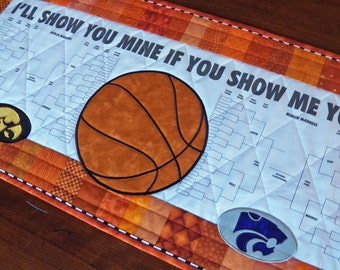 CUSTOM March Madness Brackets Quilted Table Runner - Any 2 Colleges or Teams