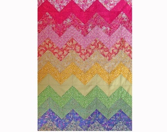 PATTERN : Chevron Rainbow Quilt Pattern Instant Download
