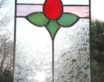 "Stained Glass Rose Panel ""Hope"" (JL702) 7"" x 10"" suncatcher"
