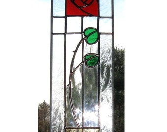"Stained Glass Rose Panel ""Fair"" 5"" wide x 16"" suncatcher transom"