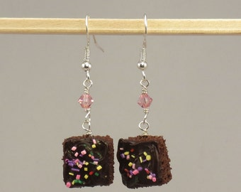 Miniature Chocolate Frosted Brownie with Sprinkles Earrings