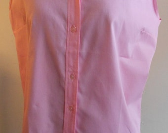 "1950's, 38"" bust, bright pink combed cotton sleeveless blouse."