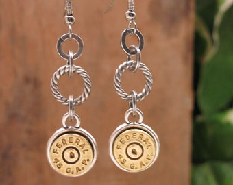 Bullet Jewelry - Brass Bullet Casing Dangle Earrings - BEST SELLER - Mixed Metals - Gun Jewelry - Girls with Guns