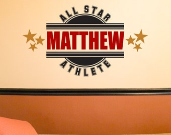 All Star Boy athlete Personalized Vinyl sports Decal, name monogram