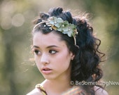 Wedding Woodland Flower Headband with Velvet Flowers leaves, Perfect for your Wedding Party