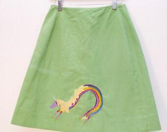 Adventure Time Skirt Lady Rainicorn Spring Green Altered Vintage Rainbow