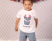 Personalized 4th of July Shirt and Shorts, Patriotic Star Bucket, Beach Bucket, Shirt/Shorts Set, 4th of July, Summer Embroidered Shirt, LDM
