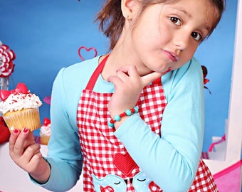 Girl's Appliqued Handmade Red Gingham Boutique Child's Chef Apron and Headband