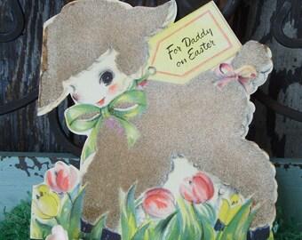 Vintage 1946 Flocked Lamb Easter Greeting Card Hallmark