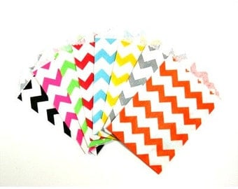 "25 Small Chevron Paper Treat Bags or Favor Bags . Choose from 9 Colors . 2.75"" x 4"""