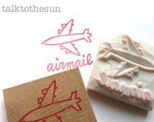 airmail hand carved rubber stamp. airplane stamp. snail mail parcel packaging stamp. scrapbooking. card making. mail art. choose option