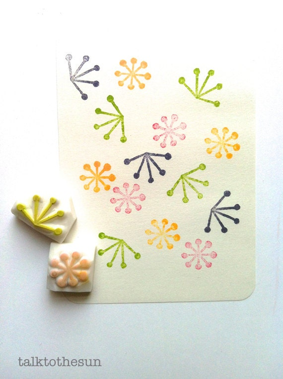 botanical pattern stamp set. flower hand carved rubber stamp. wedding birthday scrapbooking. gift wrapping. spring card making. set of 2