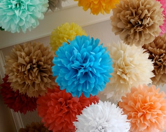 Custom Colors ... 75 tissue paper poms // wedding decorations // birthday // anniversary // bar mitzvah // party decorations
