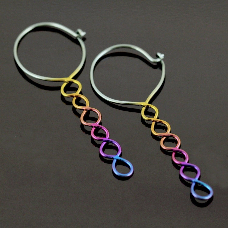 SALE 30% off Niobium earrings anodized rainbow hoops in 18