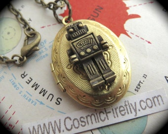 Brass Robot Locket Vintage Locket Necklace Small Brass Oval Locket Brass Chain Steampunk Robot Steampunk Locket Tiny Size