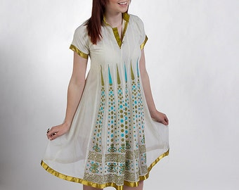 60s Mod Vintage Short Wedding Dress with Turquoise, Gold,  Avocado Green Embroidered Details - Asian and Indian Inspired - Small