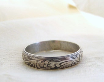 Sterling Silver Ring Vintage Floral Pattern Rustic Wedding Band