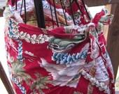 Vintage Hawaiian Print Bathing Suit Cover Up Wrap Skirt Woody & Palms