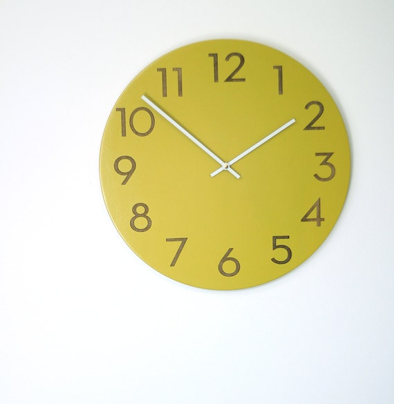 Large Modern Wood Wall Clock Chartreuse White Or Wood Finish